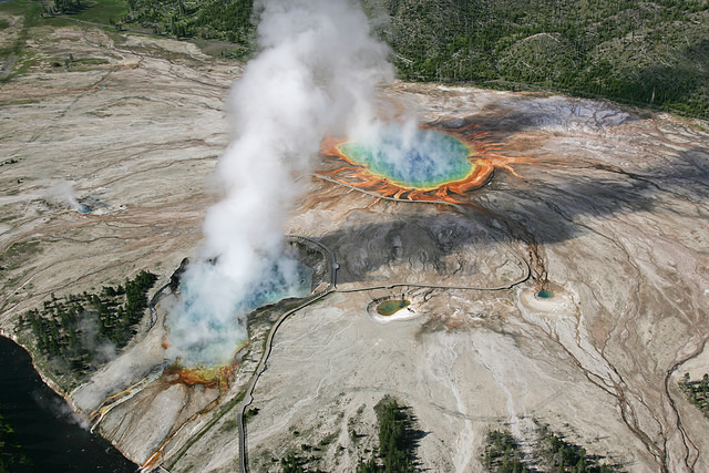 aerial of midway geyser basin 2006