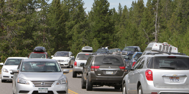 car traffic near midway geyser basin 2014