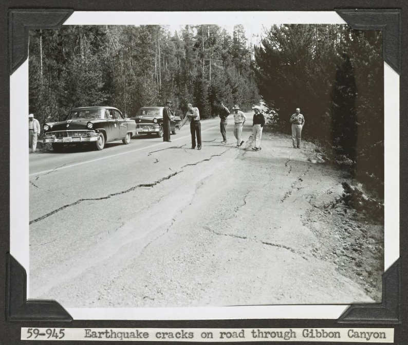 earthquake-cracks-on-road-through-gibbon-canyon-1959-photographer-unknown