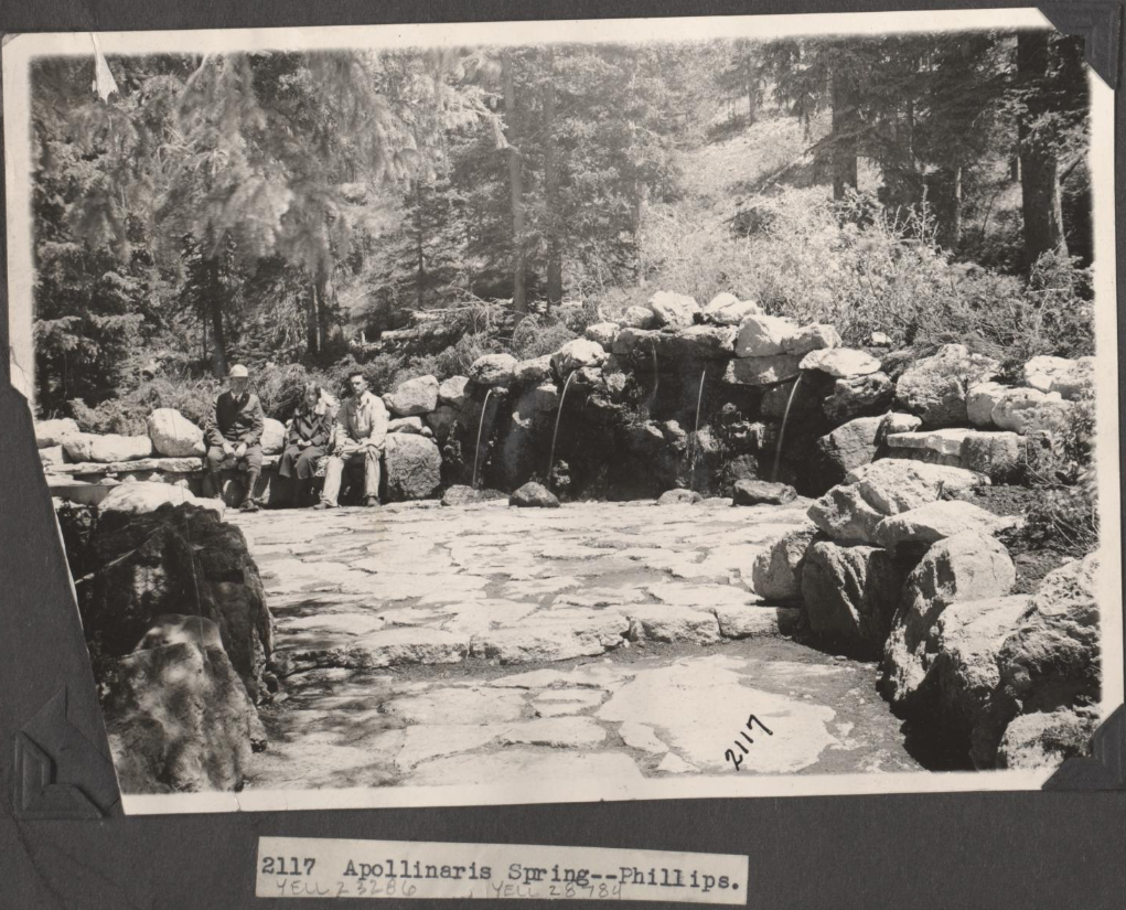 visitors sitting by Apollinaris Spring circa 1920s Phillips